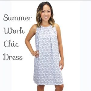 Relished navy and white patterned sheath dress