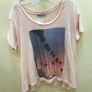 Wildfox pink palm tree sunset shirt