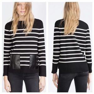 Zara Striped Pullover With Leather Pockets