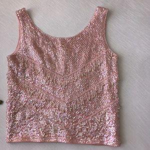 ✨ Vintage Beaded Pink Top