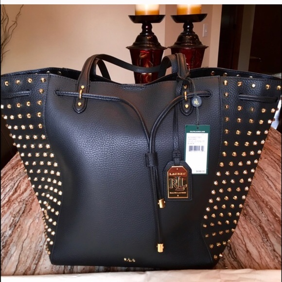 8d859f33e73f Ralph Lauren Leather Oxford Gold Studded Tote Bag.  M 58bb4e4ac6c7956fc8069619