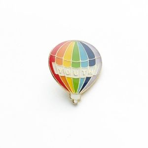 Vintage Accessories - Vintage Rainbow Hot Air Balloon Youth Enamel Pin