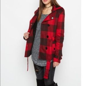 Jackets & Blazers - Red and black plaid hooded peacoat with tie belt