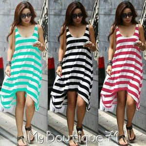 Asymmetric Striped Maxi Dress