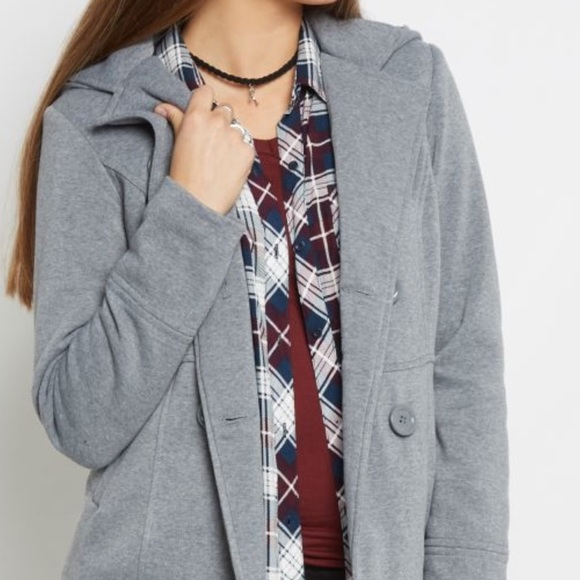 Jackets & Blazers - Heather gray hooded knit button peacoat