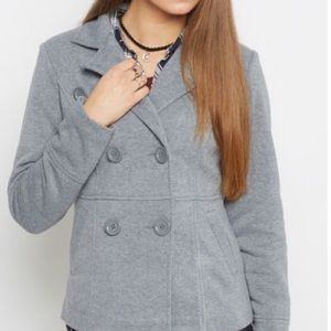 Jackets & Coats - Heather gray hooded knit button peacoat