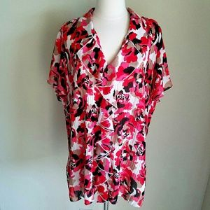 Fashion Bug Tops - Fashion Bug Roses Floral Pink Red Sheer Ruffle Top
