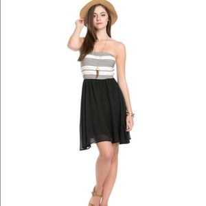 Black  chiffon tube top dress