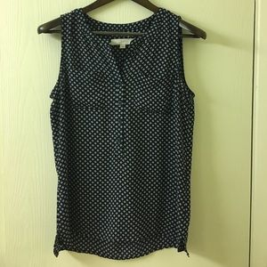 LOFT blue and white patterned sleeveless blouse