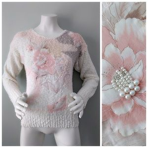 VTG Open Weave FLORAL Pink PEARL BEADED Sweater