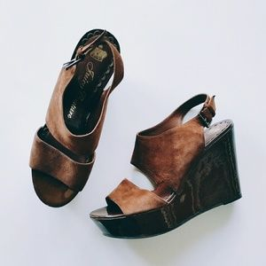 Juicy Couture Shoes - Juicy Couture Brown Suede Platform Wedges