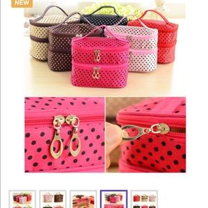 Handbags - Pink & Black Polka Dot 2 layer makeup bag