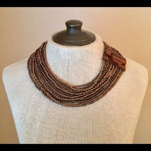 Brown Multi-Strand Seed Beaded Necklace