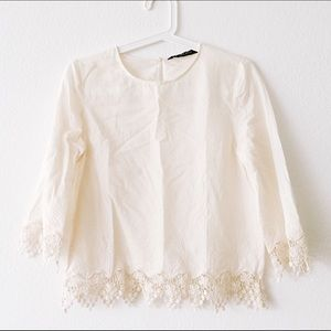 Zara cream white lace blouse