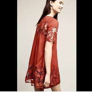 Anthropologie Dresses & Skirts - Anthropologie dark orange Floral Lace Dress P/0