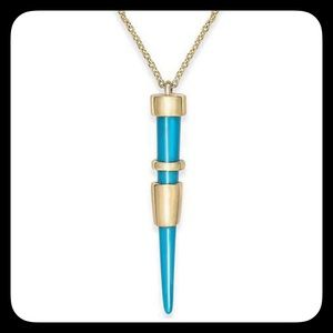 House of Harlow 1960 Jewelry - HOH Gold & Turquoise Spike Pendant Necklace