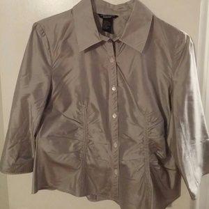 Navy Pin-striped silk blouse