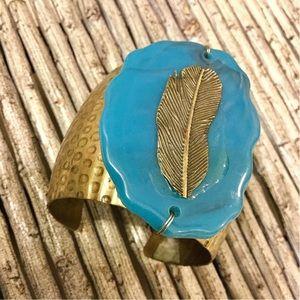 NWOT Boho Cuff Bracelet Turquoise Gold Bronze New