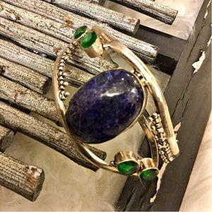 Boutique Jewelry - NEW CUSTOM LAPIS Silver Cuff Bracelet Artisan Made