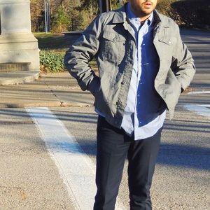 Indigo Star Other - Grey Denim Jacket with black fur lining