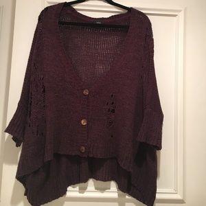 Millau Sweaters - Deep purple button sweater from LF by Millau