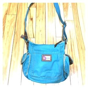 Fossil Handbags - Fossil turquoise crossbody purse fabric leather