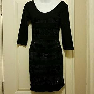 LBD with black beaded stripes