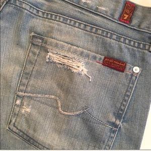 7 For All Mankind light wash bootcut jeans