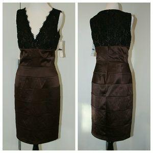 Eliza J Dresses & Skirts - Eliza J Lace Bodice Stretch Satin Sheath Dress