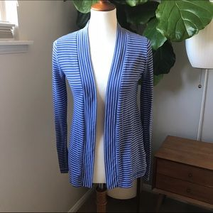 J. Crew Sweaters - J.Crew Blue & white striped open cardigan size XS