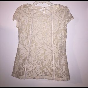 Tops - Ivory short sleeve lace top
