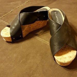 Rampage Shoes - Black wedge sandals.