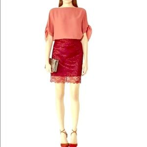 HOST PICK! • NWT Reiss | Dree red lace skirt