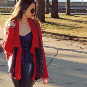 Moma Sweaters - Soft Drape Stripe Angora Blend Cardigan Spring