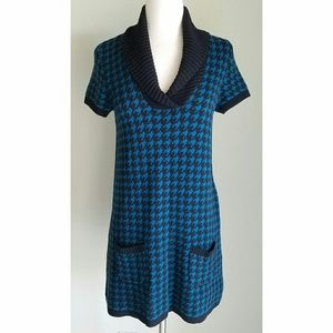 Style & Co Dresses & Skirts - Style&Co BlueBlack Houndstooth Sweater Tunic/Dress
