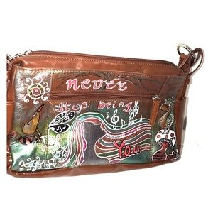 Kim Rogers Handbags - OOAK Custom hand painted Kim Rogers leather purse