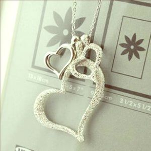 Heart ❤️ necklace silver plated