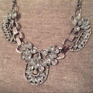 Jewelry - Rhinestone and Silver Bib Statement Necklace