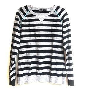 Kersh Sweaters - Grey and black striped crew neck sweater