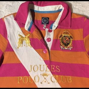 Joules Tops - Joules Elita Orange & Hot Pink Polo, 6