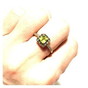 Zales Jewelry - Peridot and champagne quartz 10 K ring. Size 7
