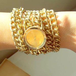 Pretty Rebellious Accessories - Gold Chain Watch Bracelet