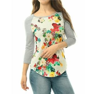 Allegra K Tops - Allegra K Floral Shirt
