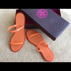 Tory Burch Shoes - Tory Burch Jelly Slide Flat Rubber Gold Logo