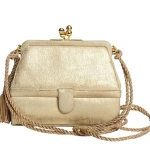 Judith Leiber Handbags - Judith Leiber Iconic 007 Pale Gold Leather Bag