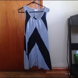 A gray and black diagonally patterned dress