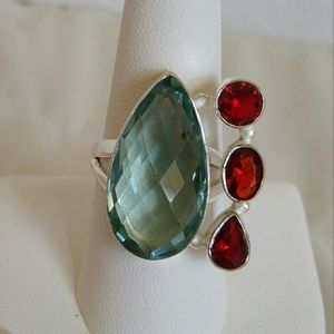 Handmade Jewelry - Aqua Apatite and Garnet ring. 925 silver. Size 8.3