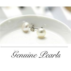 7mm Genuine White Freshwater Pearl Earrings.925