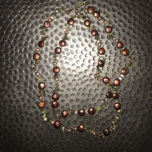 Jewelry - Brown & Olive Colored Beaded Necklace