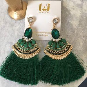 T&J Designs Jewelry - $ firm🍍Emerald Green Stunning Tassel Earrings
